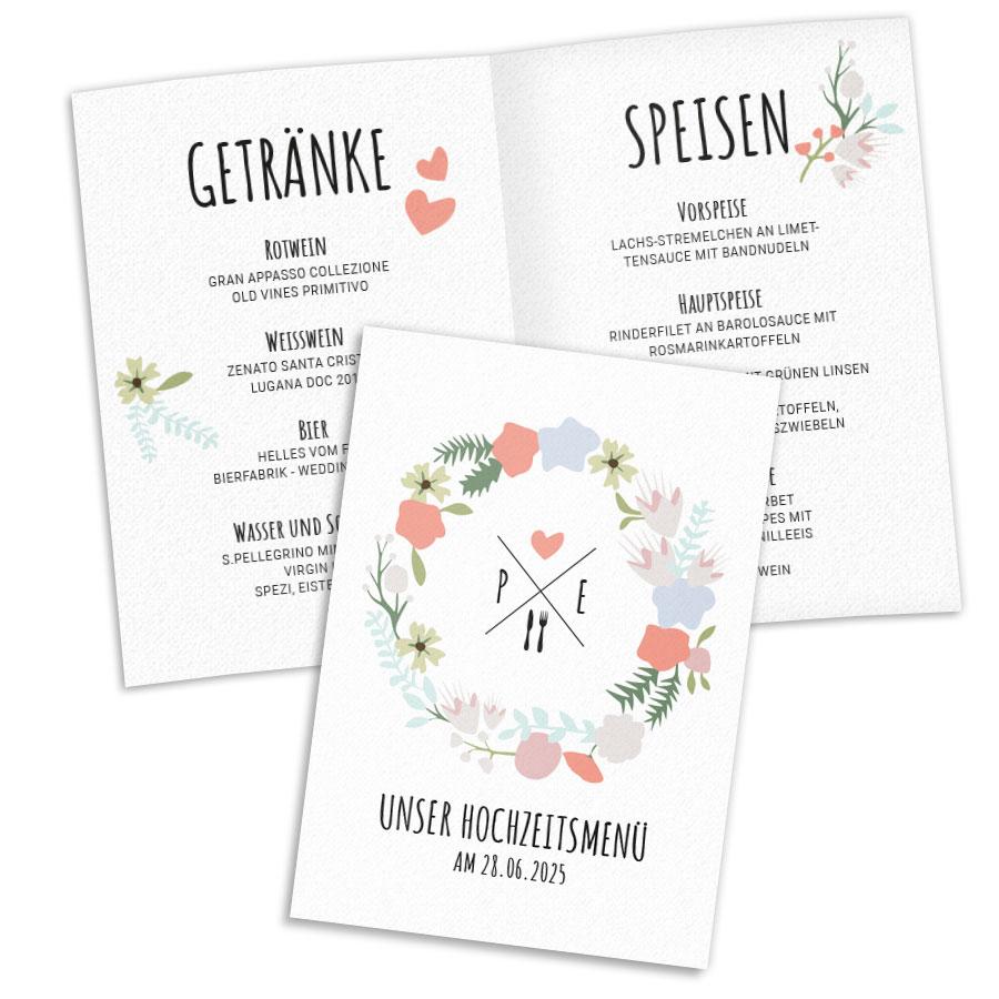 Menükarten Hochzeit Bequem Online Selbst Gestalten