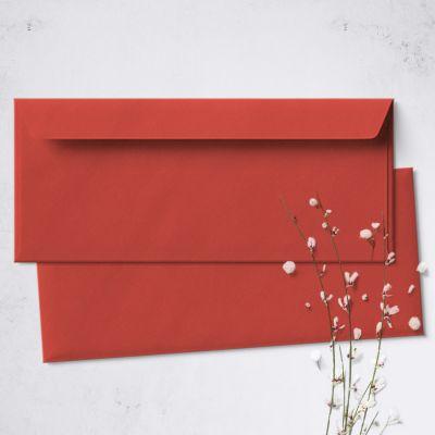 Umschlag für Lange Karte Rot, 220 x 110 mm