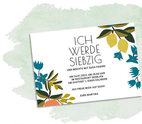 Einladungskarte Siebzig