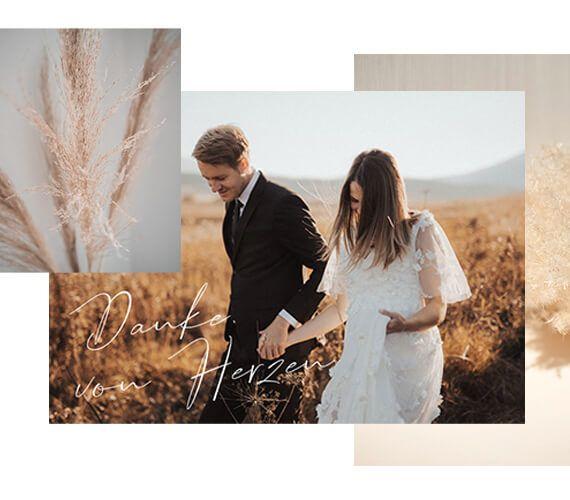 Dankeskarten Hochzeit Kollage