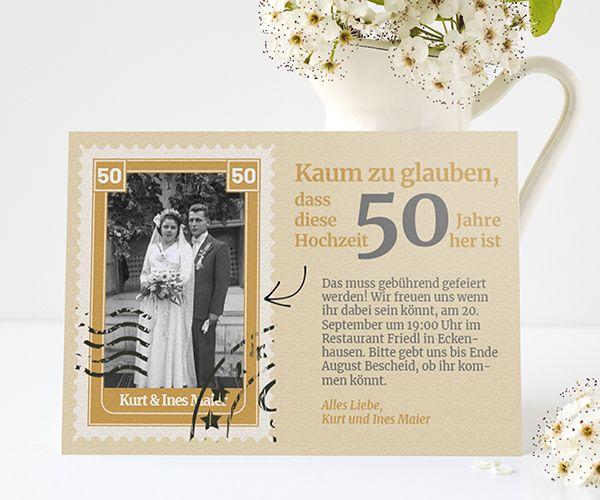 Einladungskarten Zur Goldenen Hochzeit Edel Zeitlos